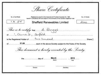 Pioneer investors sheffield renewables for Share certificate template companies house